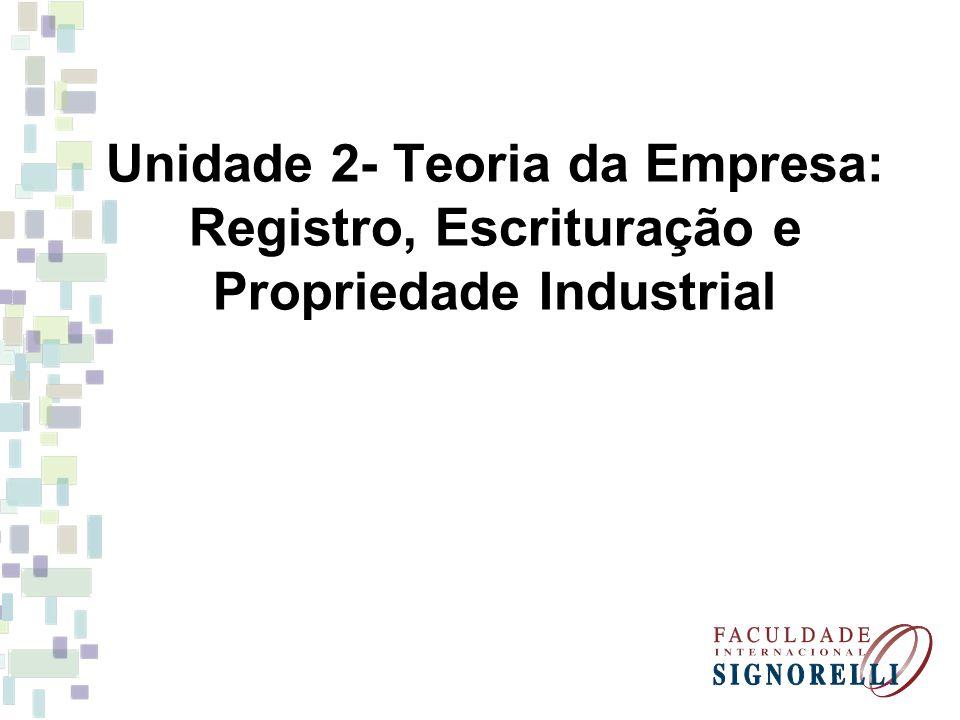 Unidade 2- Teoria da Empresa: Registro, Escrituração e Propriedade Industrial