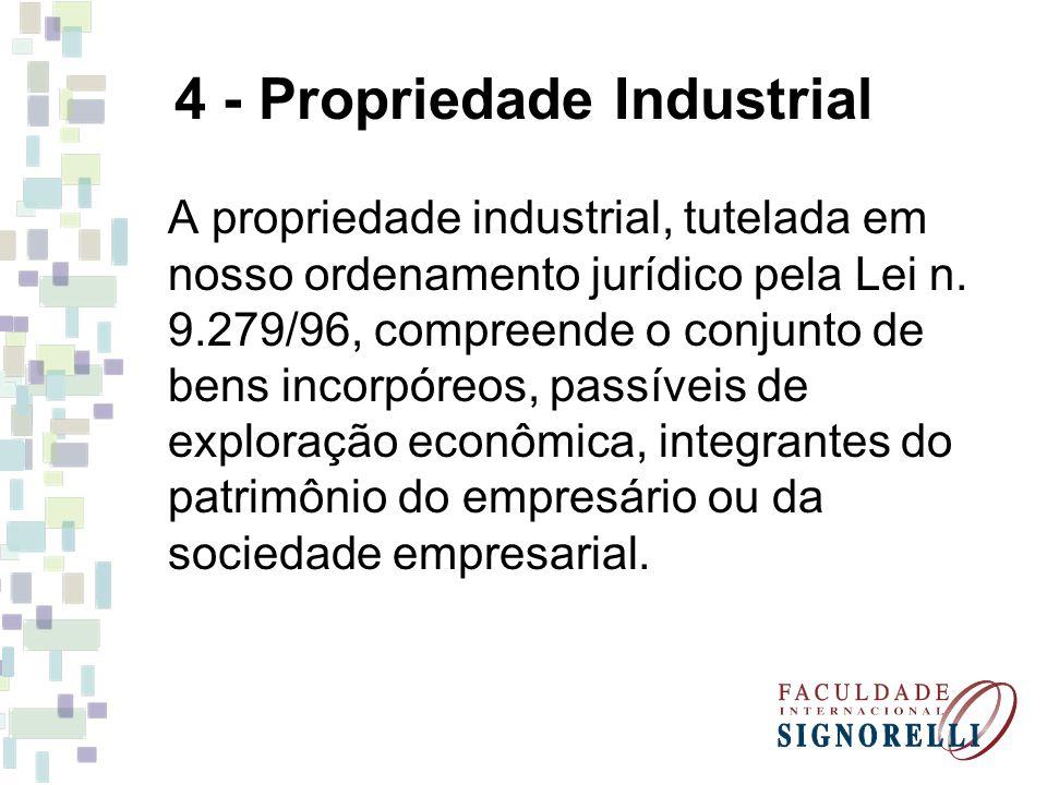 4 - Propriedade Industrial A propriedade industrial, tutelada em nosso ordenamento jurídico pela Lei n.