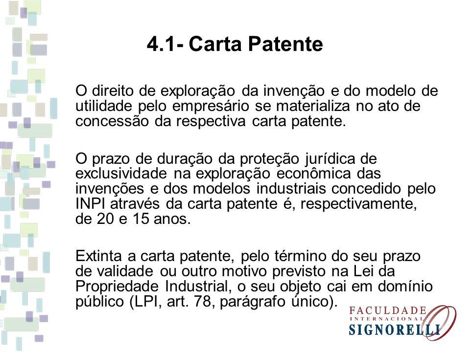 4.1- Carta Patente O direito de exploração da invenção e do modelo de utilidade pelo empresário se materializa no ato de concessão da respectiva carta patente.