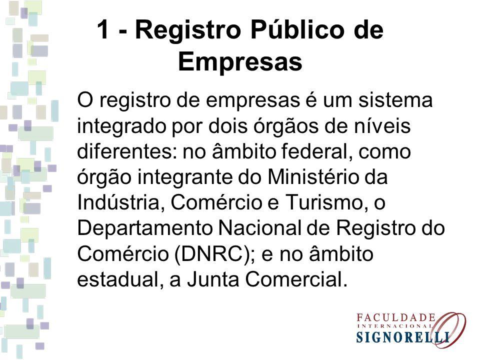 1 - Registro Público de Empresas O registro de empresas é um sistema integrado por dois órgãos de níveis diferentes: no âmbito federal, como órgão integrante do Ministério da Indústria, Comércio e Turismo, o Departamento Nacional de Registro do Comércio (DNRC); e no âmbito estadual, a Junta Comercial.