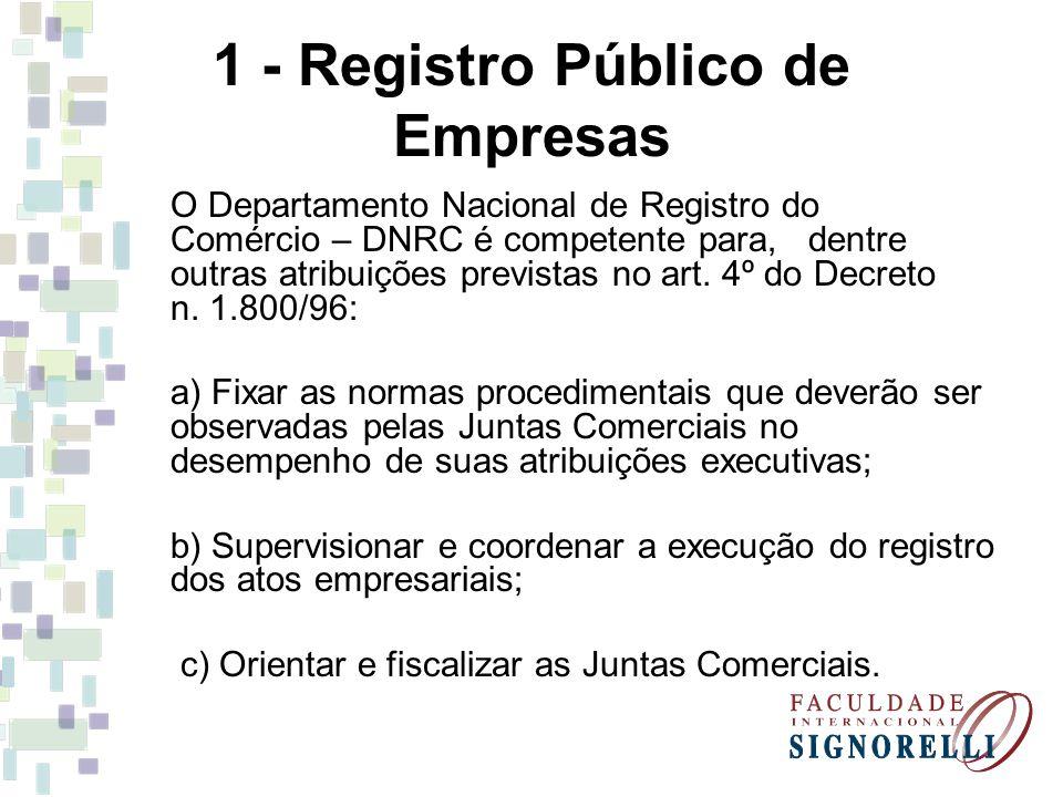 1 - Registro Público de Empresas O Departamento Nacional de Registro do Comércio – DNRC é competente para, dentre outras atribuições previstas no art.