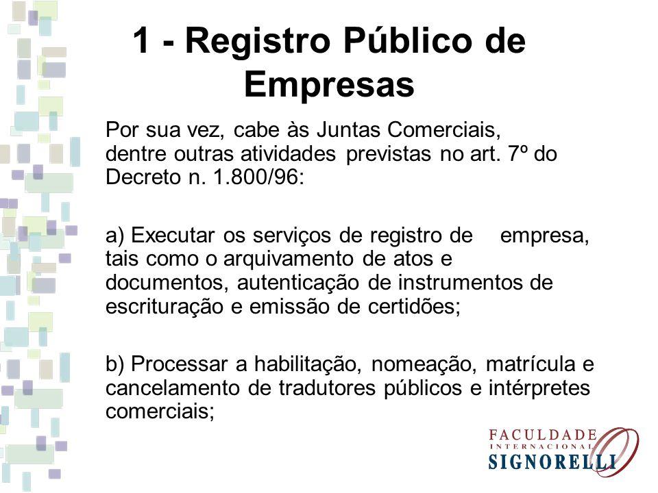 1 - Registro Público de Empresas Por sua vez, cabe às Juntas Comerciais, dentre outras atividades previstas no art.