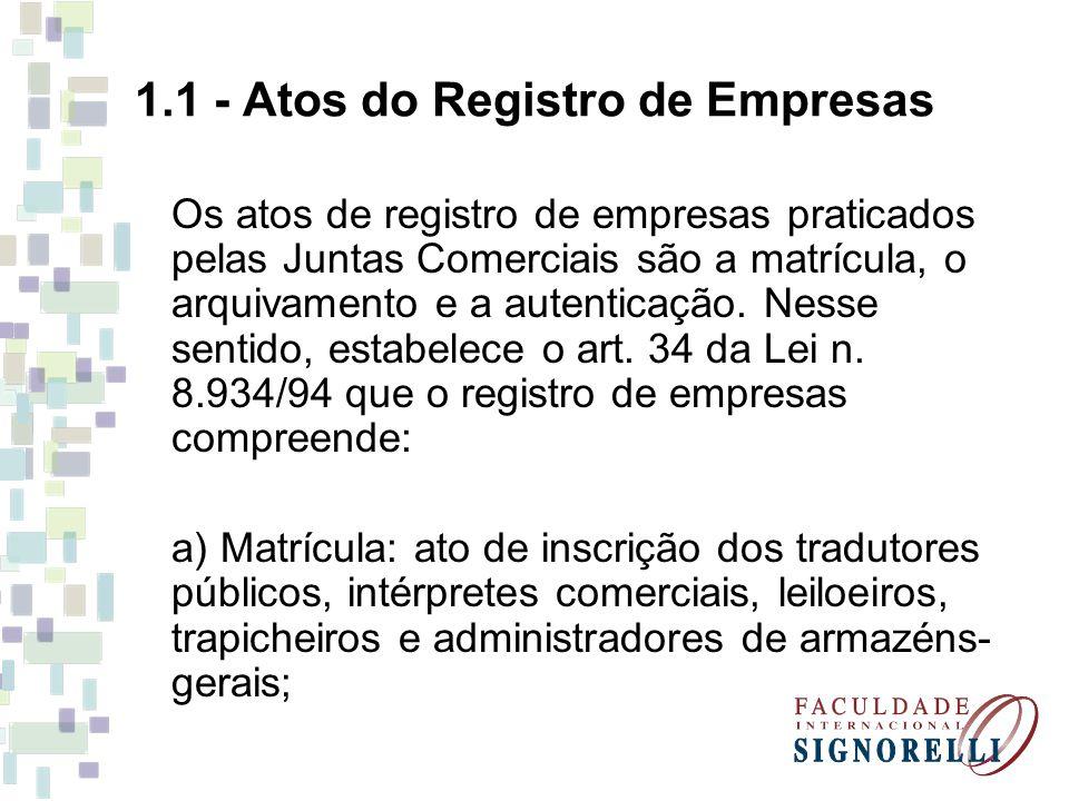 1.1 - Atos do Registro de Empresas Os atos de registro de empresas praticados pelas Juntas Comerciais são a matrícula, o arquivamento e a autenticação.
