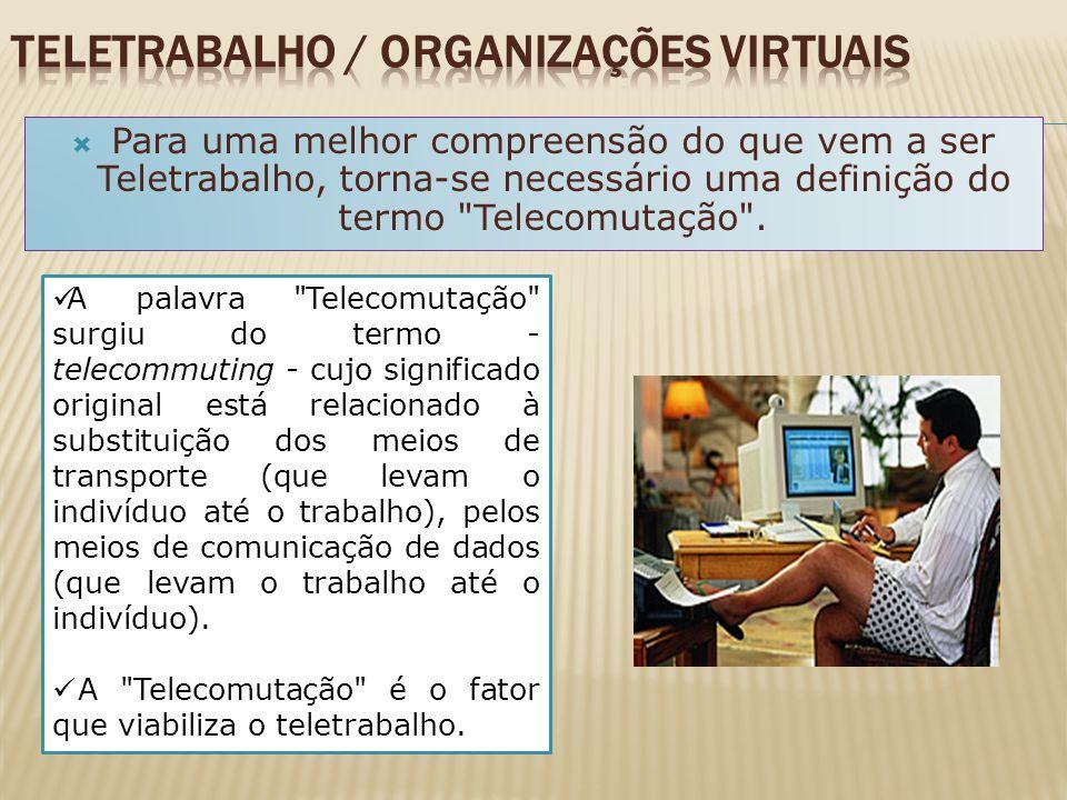 Teletrabalho significa: trabalho a distância, através de equipamentos telemáticos, que pode ser realizado a partir de casa ou em centros que disponibi