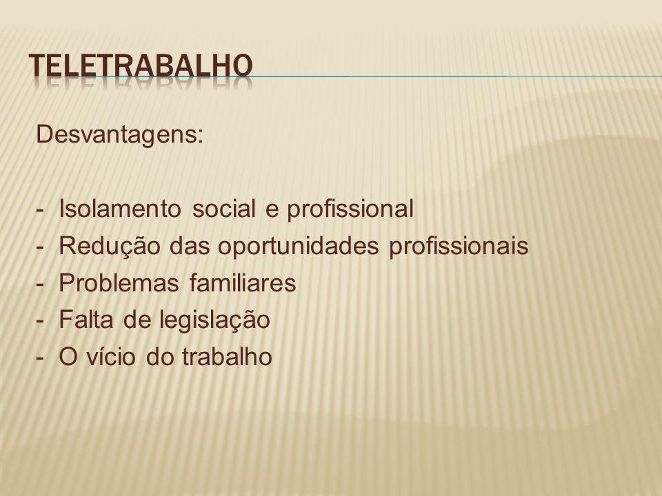 Desvantagens: - Isolamento social e profissional - Redução das oportunidades profissionais - Problemas familiares - Falta de legislação - O vício do trabalho