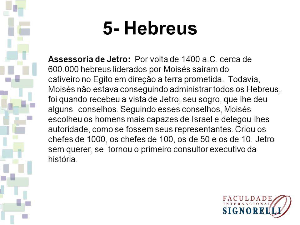 5- Hebreus Assessoria de Jetro: Por volta de 1400 a.C. cerca de 600.000 hebreus liderados por Moisés saíram do cativeiro no Egito em direção a terra p