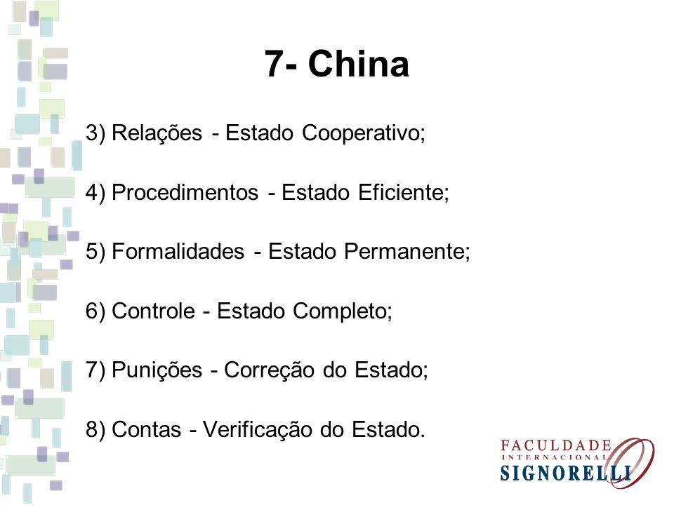 7- China 3) Relações - Estado Cooperativo; 4) Procedimentos - Estado Eficiente; 5) Formalidades - Estado Permanente; 6) Controle - Estado Completo; 7)