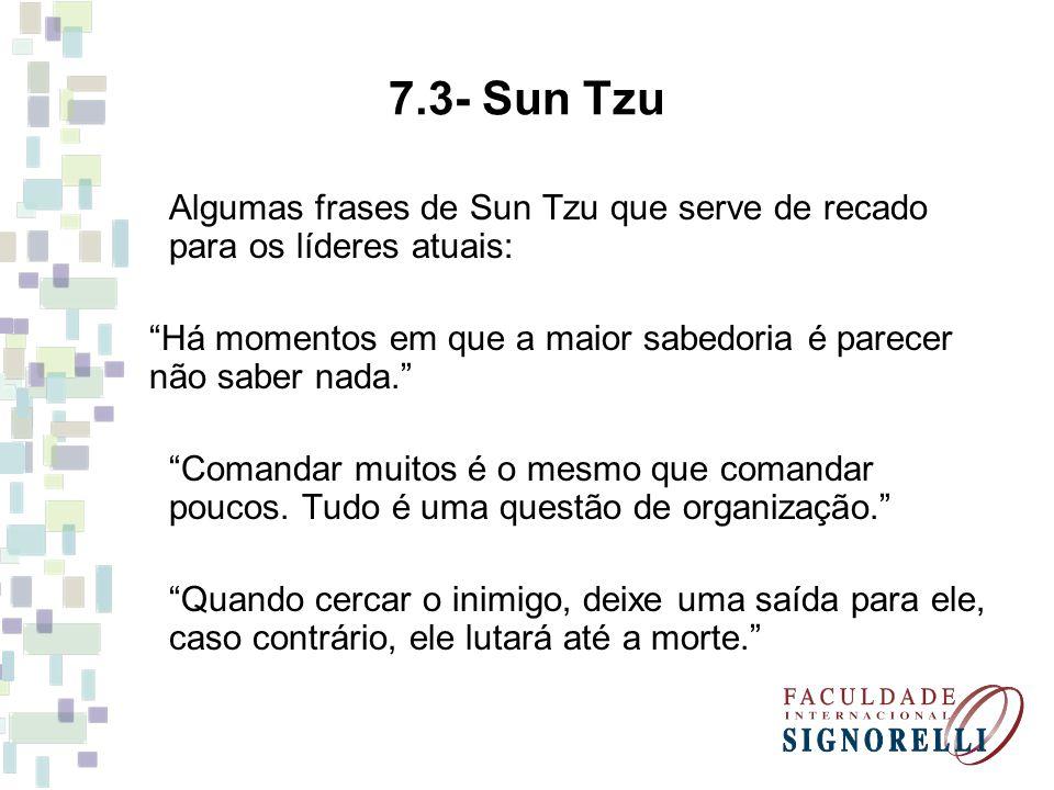 7.3- Sun Tzu Algumas frases de Sun Tzu que serve de recado para os líderes atuais: Há momentos em que a maior sabedoria é parecer não saber nada. Coma