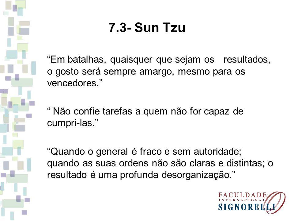 7.3- Sun Tzu Em batalhas, quaisquer que sejam os resultados, o gosto será sempre amargo, mesmo para os vencedores. Não confie tarefas a quem não for c