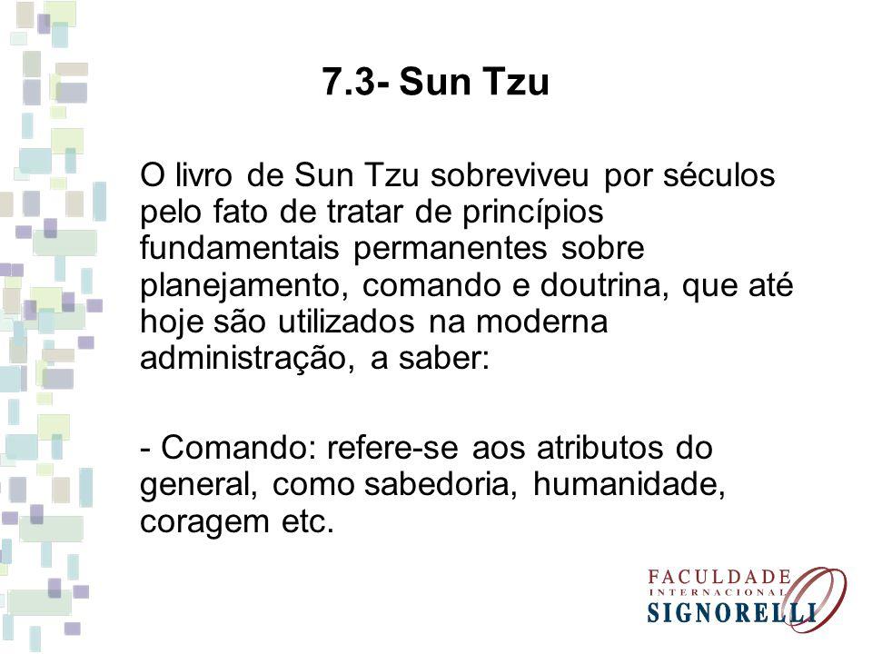 7.3- Sun Tzu O livro de Sun Tzu sobreviveu por séculos pelo fato de tratar de princípios fundamentais permanentes sobre planejamento, comando e doutri