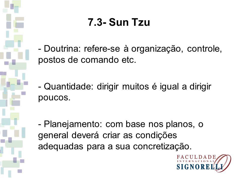 7.3- Sun Tzu - Doutrina: refere-se à organização, controle, postos de comando etc. - Quantidade: dirigir muitos é igual a dirigir poucos. - Planejamen