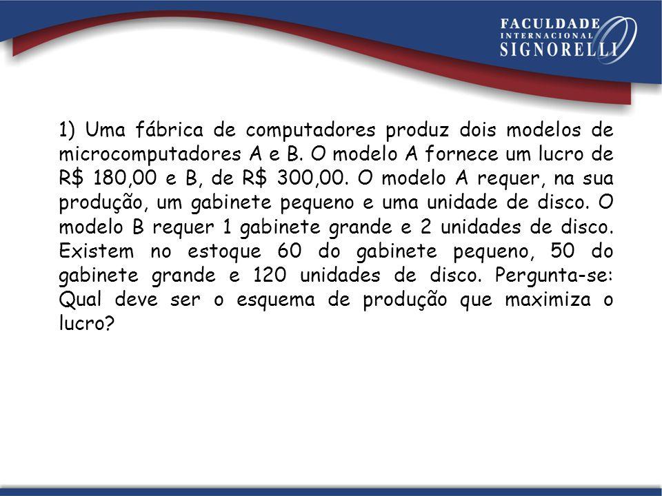1) Uma fábrica de computadores produz dois modelos de microcomputadores A e B. O modelo A fornece um lucro de R$ 180,00 e B, de R$ 300,00. O modelo A