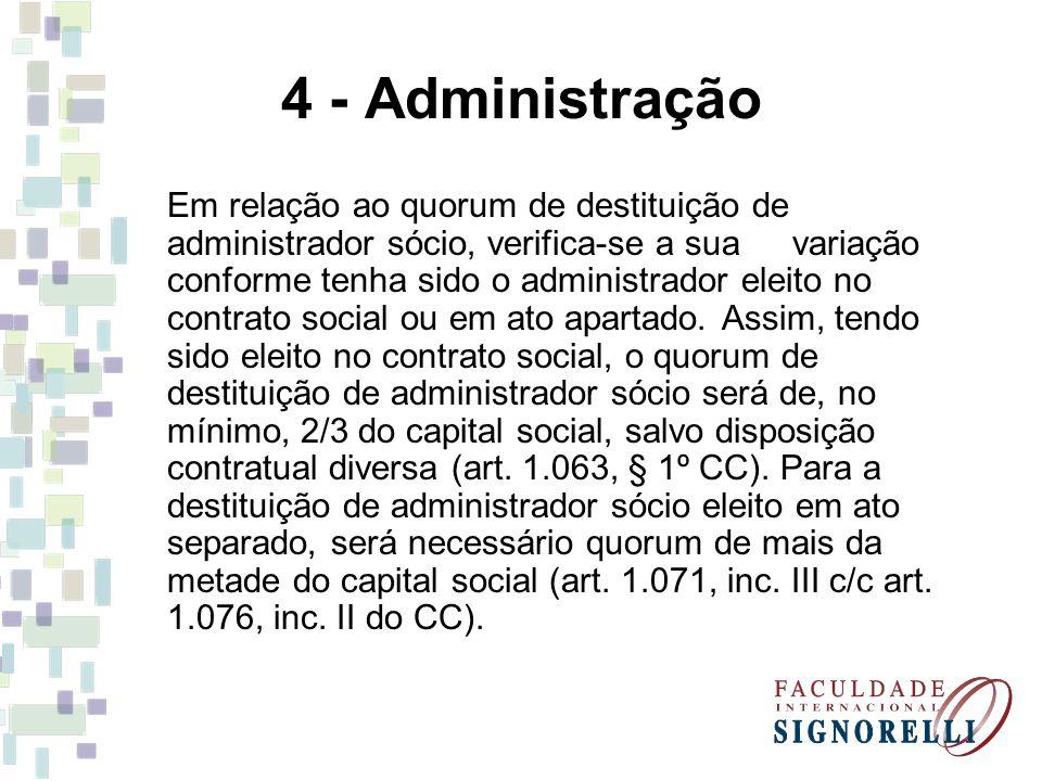 4 - Administração Em relação ao quorum de destituição de administrador sócio, verifica-se a sua variação conforme tenha sido o administrador eleito no