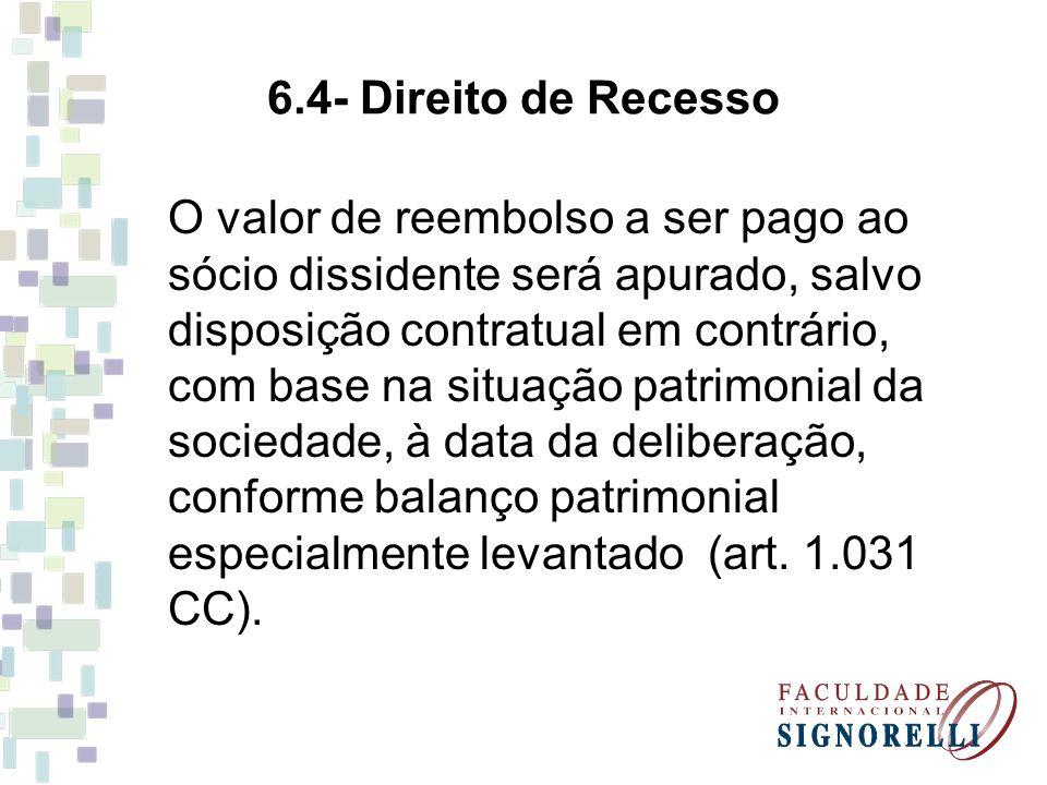 6.4- Direito de Recesso O valor de reembolso a ser pago ao sócio dissidente será apurado, salvo disposição contratual em contrário, com base na situaç