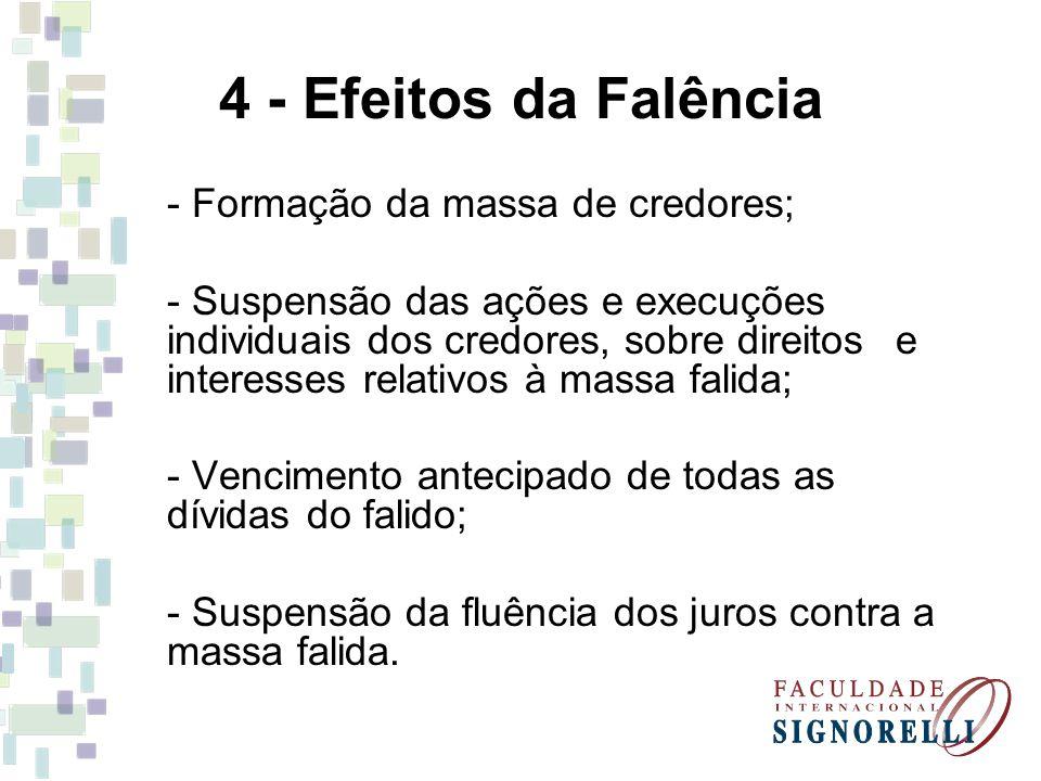 4 - Efeitos da Falência - Formação da massa de credores; - Suspensão das ações e execuções individuais dos credores, sobre direitos e interesses relat