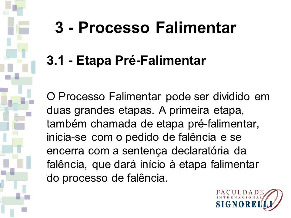 3 - Processo Falimentar 3.1 - Etapa Pré-Falimentar O Processo Falimentar pode ser dividido em duas grandes etapas. A primeira etapa, também chamada de