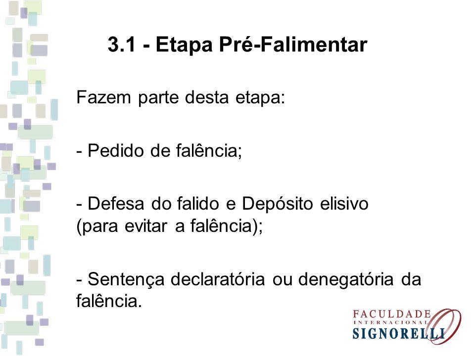 3.1 - Etapa Pré-Falimentar Fazem parte desta etapa: - Pedido de falência; - Defesa do falido e Depósito elisivo (para evitar a falência); - Sentença d