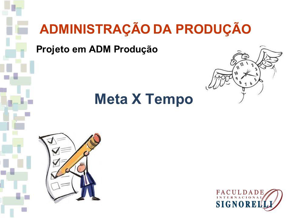 ADMINISTRAÇÃO DA PRODUÇÃO Projeto em ADM Produção Meta X Tempo
