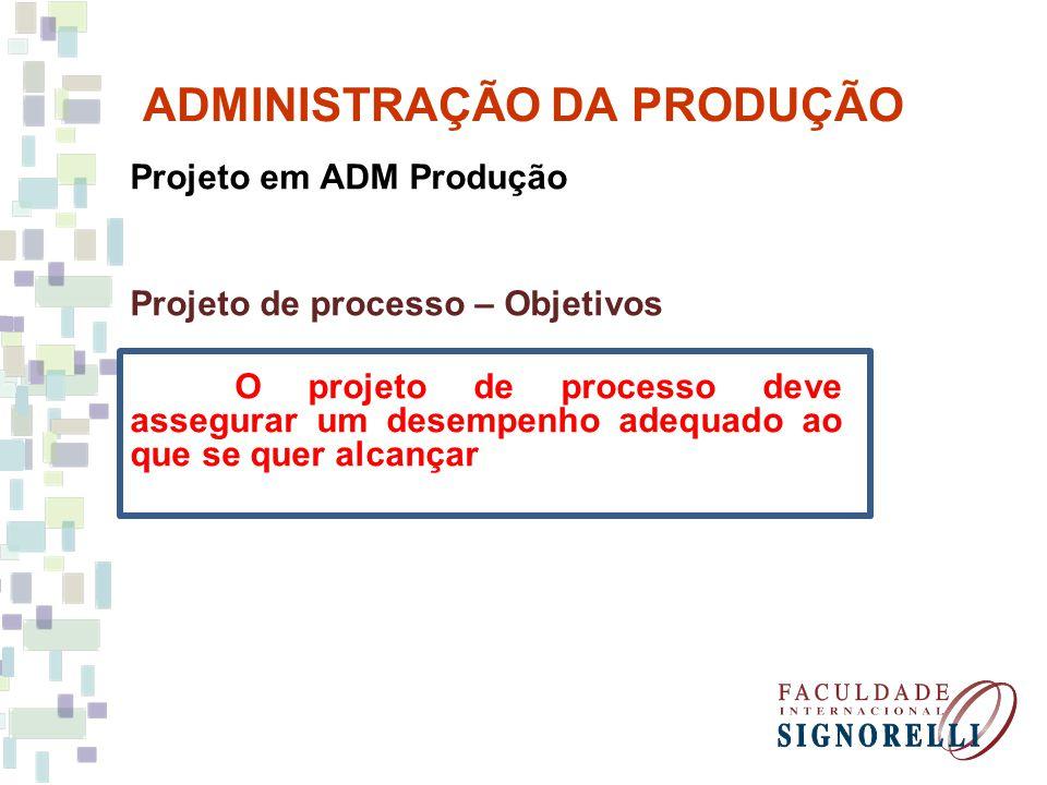 ADMINISTRAÇÃO DA PRODUÇÃO Projeto em ADM Produção Projeto de processo – Objetivos O projeto de processo deve assegurar um desempenho adequado ao que s