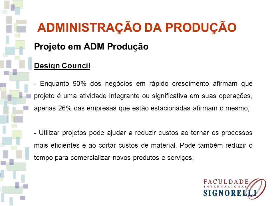 ADMINISTRAÇÃO DA PRODUÇÃO Projeto em ADM Produção Design Council - Enquanto 90% dos negócios em rápido crescimento afirmam que projeto é uma atividade