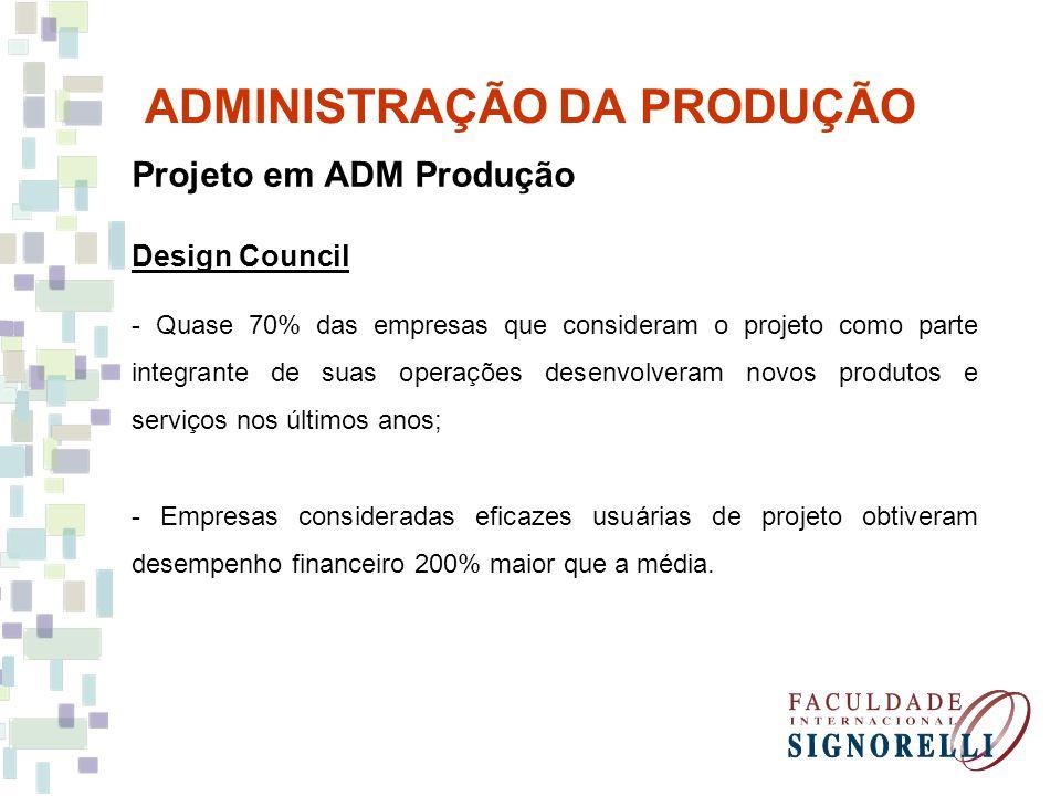 ADMINISTRAÇÃO DA PRODUÇÃO Projeto em ADM Produção Design Council - Quase 70% das empresas que consideram o projeto como parte integrante de suas opera