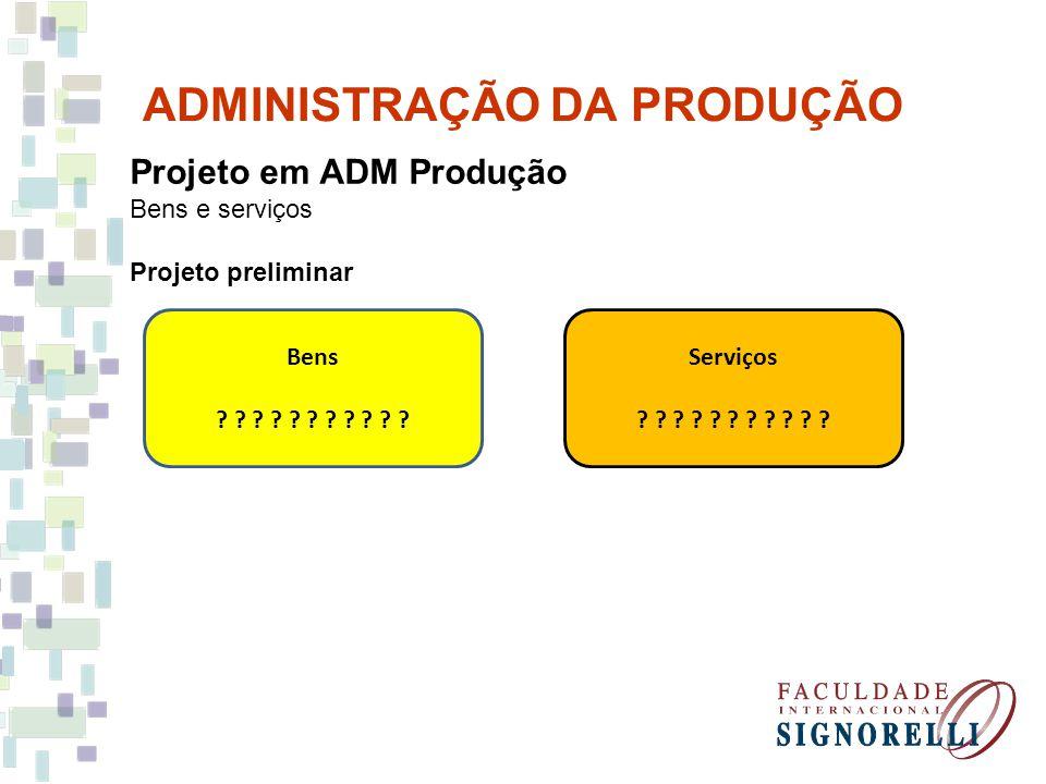 ADMINISTRAÇÃO DA PRODUÇÃO Projeto em ADM Produção Bens e serviços Projeto preliminar Bens ? ? ? ? ? ? ? ? ? ? ? Serviços ? ? ? ? ? ? ? ? ? ? ?