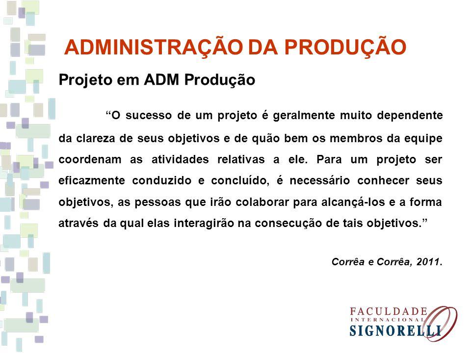 ADMINISTRAÇÃO DA PRODUÇÃO Projeto em ADM Produção O sucesso de um projeto é geralmente muito dependente da clareza de seus objetivos e de quão bem os