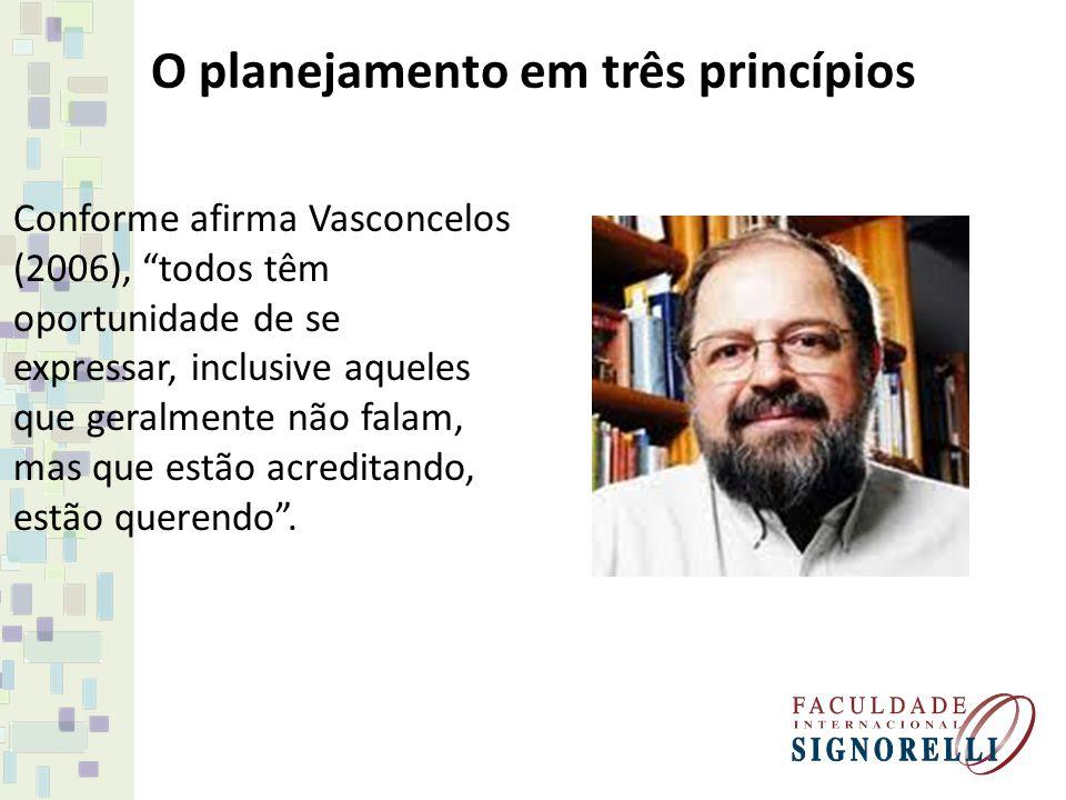 O planejamento em três princípios Conforme afirma Vasconcelos (2006), todos têm oportunidade de se expressar, inclusive aqueles que geralmente não fal