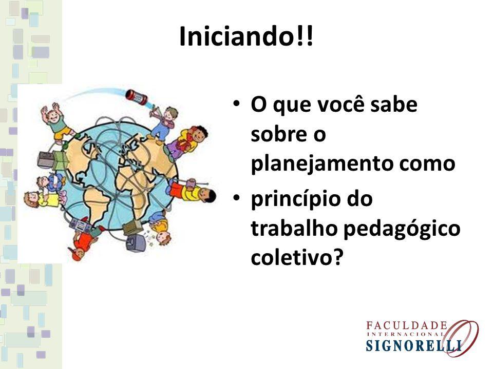 Iniciando!! O que você sabe sobre o planejamento como princípio do trabalho pedagógico coletivo?