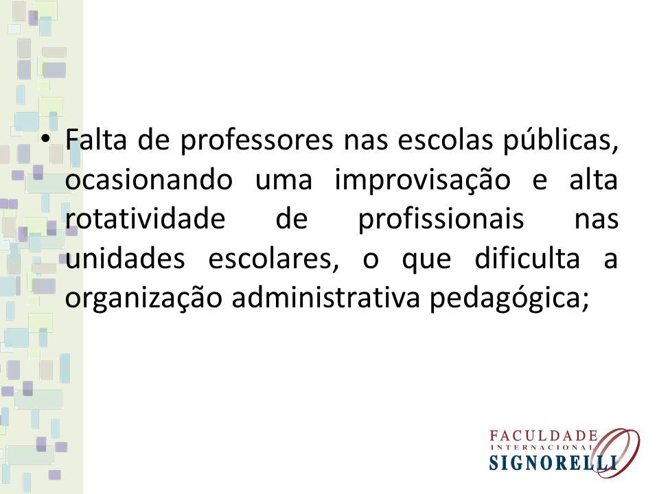 Falta de professores nas escolas públicas, ocasionando uma improvisação e alta rotatividade de profissionais nas unidades escolares, o que dificulta a