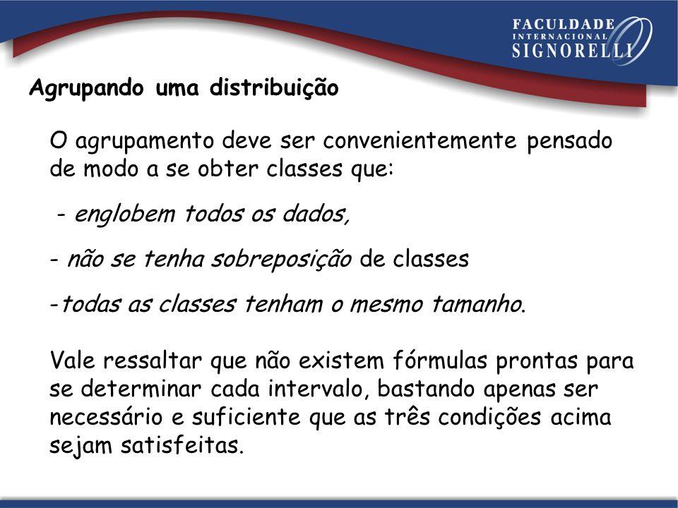 Agrupando uma distribuição O agrupamento deve ser convenientemente pensado de modo a se obter classes que: - englobem todos os dados, - não se tenha sobreposição de classes -todas as classes tenham o mesmo tamanho.