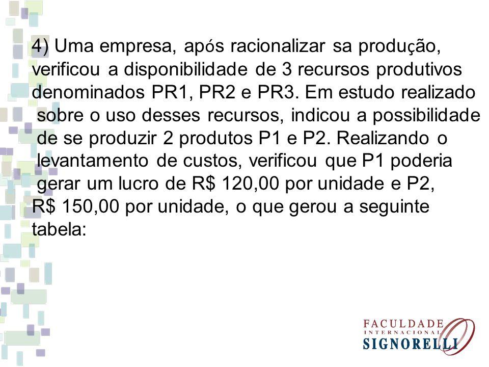 4) Uma empresa, ap ó s racionalizar sa produ ç ão, verificou a disponibilidade de 3 recursos produtivos denominados PR1, PR2 e PR3. Em estudo realizad