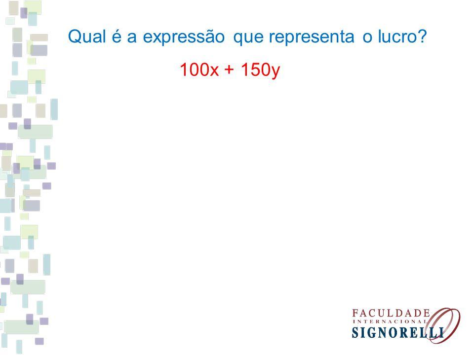 Qual é a expressão que representa o lucro? 100x + 150y
