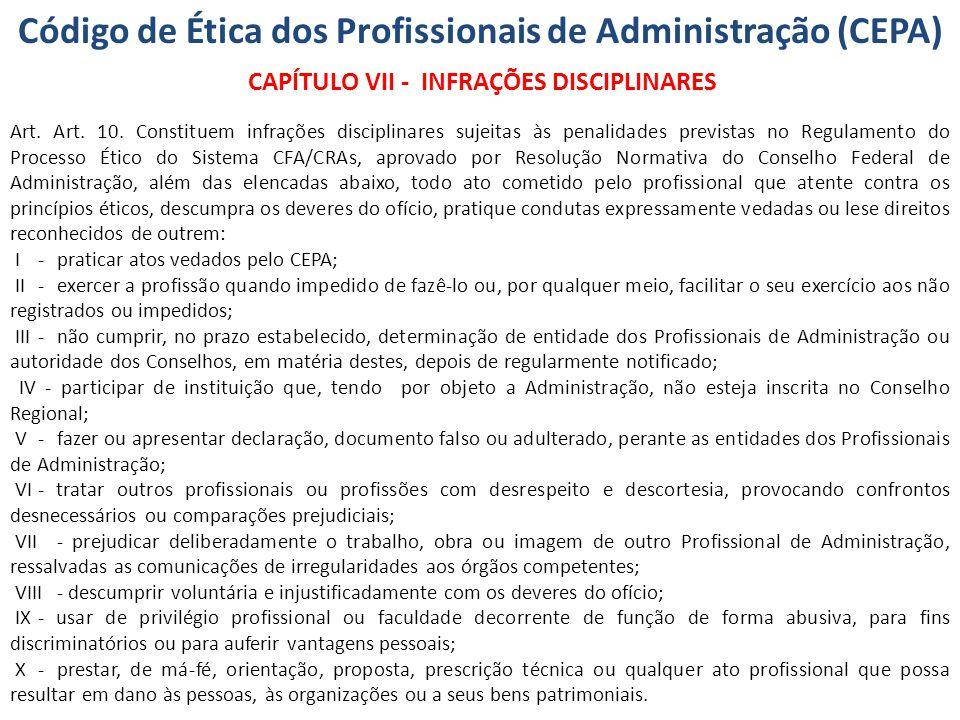 Código de Ética dos Profissionais de Administração (CEPA) CAPÍTULO VII - INFRAÇÕES DISCIPLINARES Art. Art. 10. Constituem infrações disciplinares suje