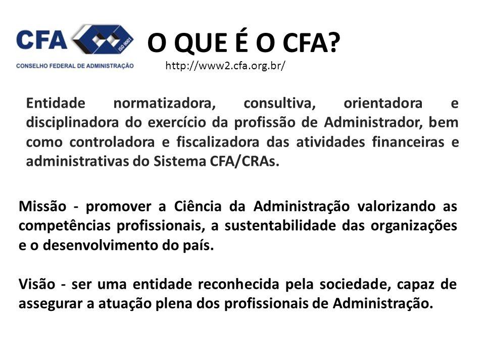 O QUE É O CFA? Entidade normatizadora, consultiva, orientadora e disciplinadora do exercício da profissão de Administrador, bem como controladora e fi