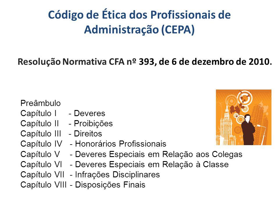 Código de Ética dos Profissionais de Administração (CEPA) Resolução Normativa CFA nº 393, de 6 de dezembro de 2010. Preâmbulo Capítulo I - Deveres Cap
