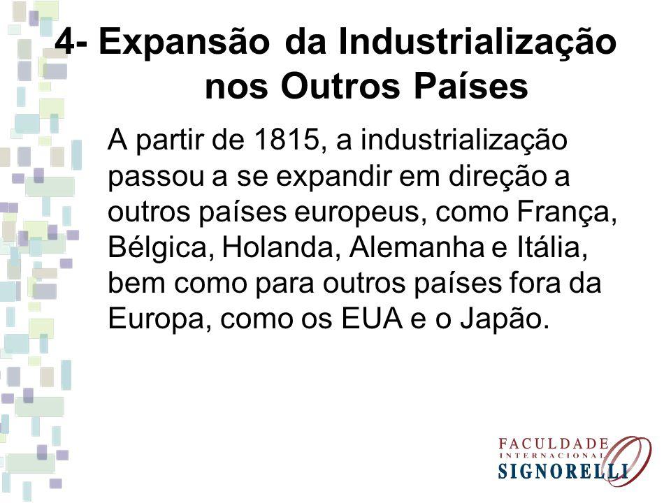 4- Expansão da Industrialização nos Outros Países A partir de 1815, a industrialização passou a se expandir em direção a outros países europeus, como