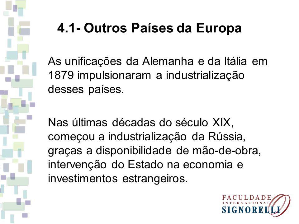 4.1- Outros Países da Europa As unificações da Alemanha e da Itália em 1879 impulsionaram a industrialização desses países. Nas últimas décadas do séc