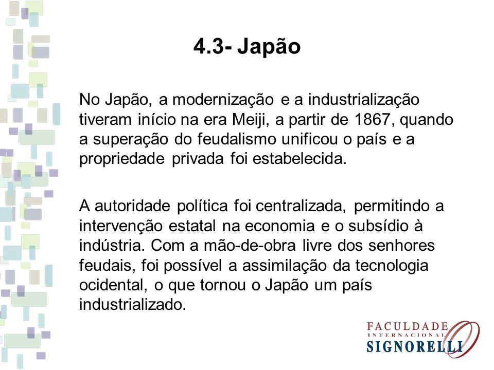 4.3- Japão No Japão, a modernização e a industrialização tiveram início na era Meiji, a partir de 1867, quando a superação do feudalismo unificou o pa