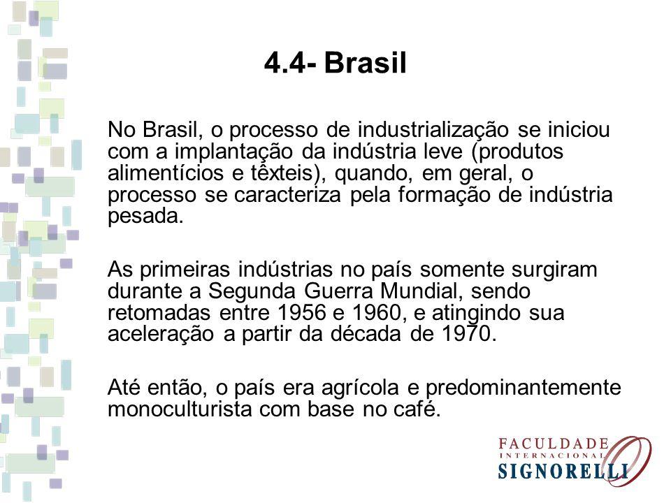 4.4- Brasil No Brasil, o processo de industrialização se iniciou com a implantação da indústria leve (produtos alimentícios e têxteis), quando, em ger
