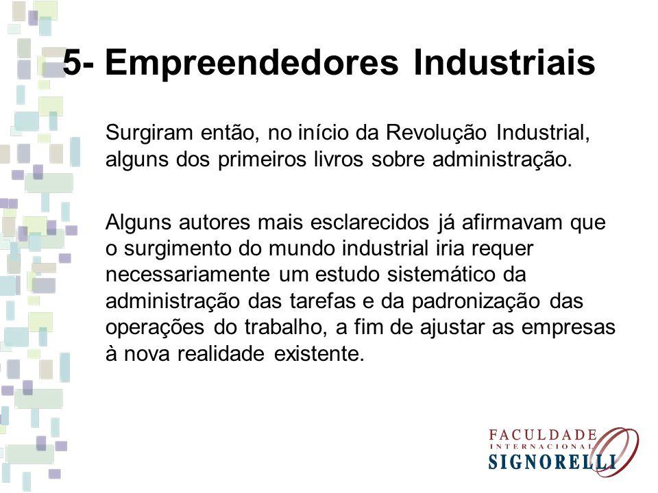 5- Empreendedores Industriais Surgiram então, no início da Revolução Industrial, alguns dos primeiros livros sobre administração. Alguns autores mais