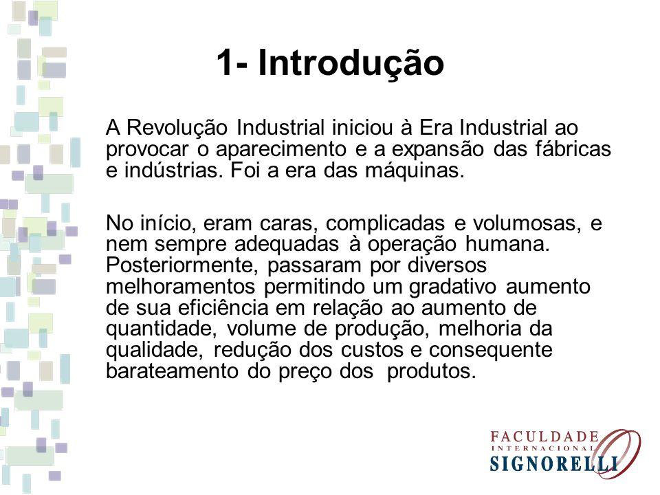1- Introdução A Revolução Industrial iniciou à Era Industrial ao provocar o aparecimento e a expansão das fábricas e indústrias. Foi a era das máquina