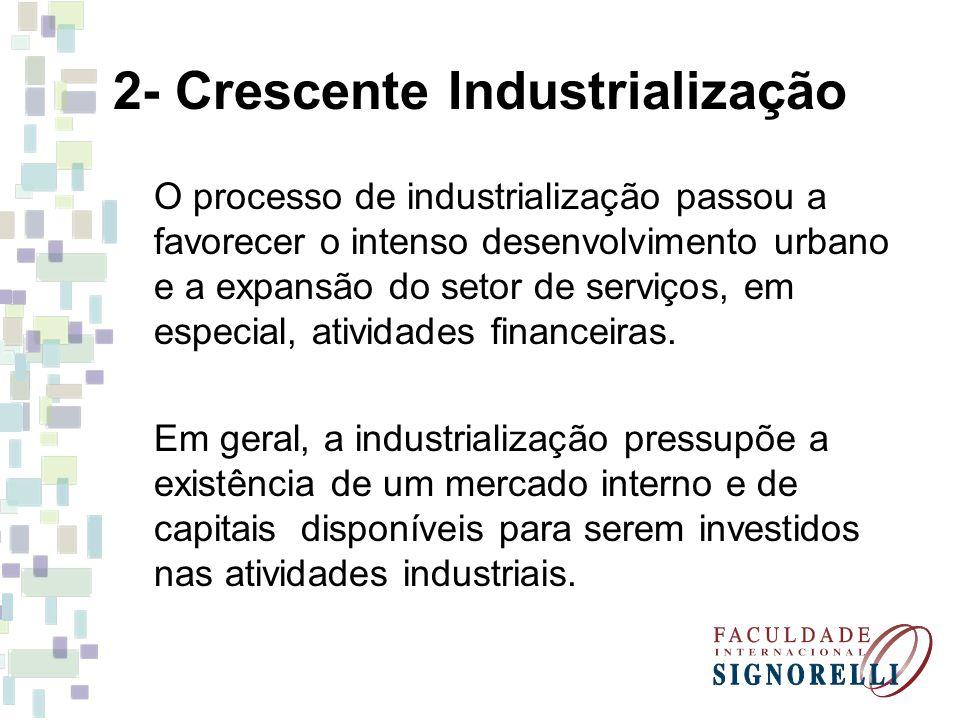 2- Crescente Industrialização O processo de industrialização passou a favorecer o intenso desenvolvimento urbano e a expansão do setor de serviços, em