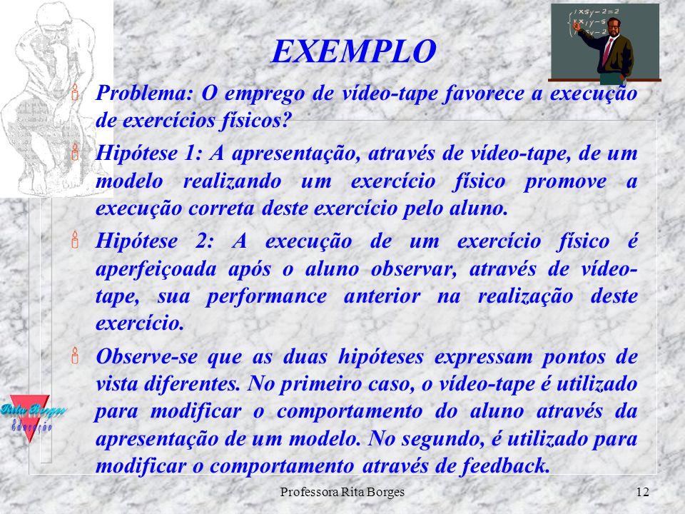 Professora Rita Borges11 HIPÓTESES $formulado sob a forma de pergunta, a hipótese o é sob a forma de afirmação. A investigação é realizada de modo que