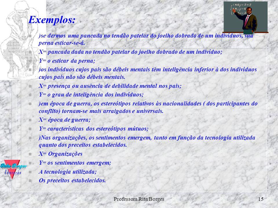 Professora Rita Borges14 Variáveis Independentes e Dependentes Conceito e Diferenciação: ?Variável independente (x) é aquela que influencia, determina