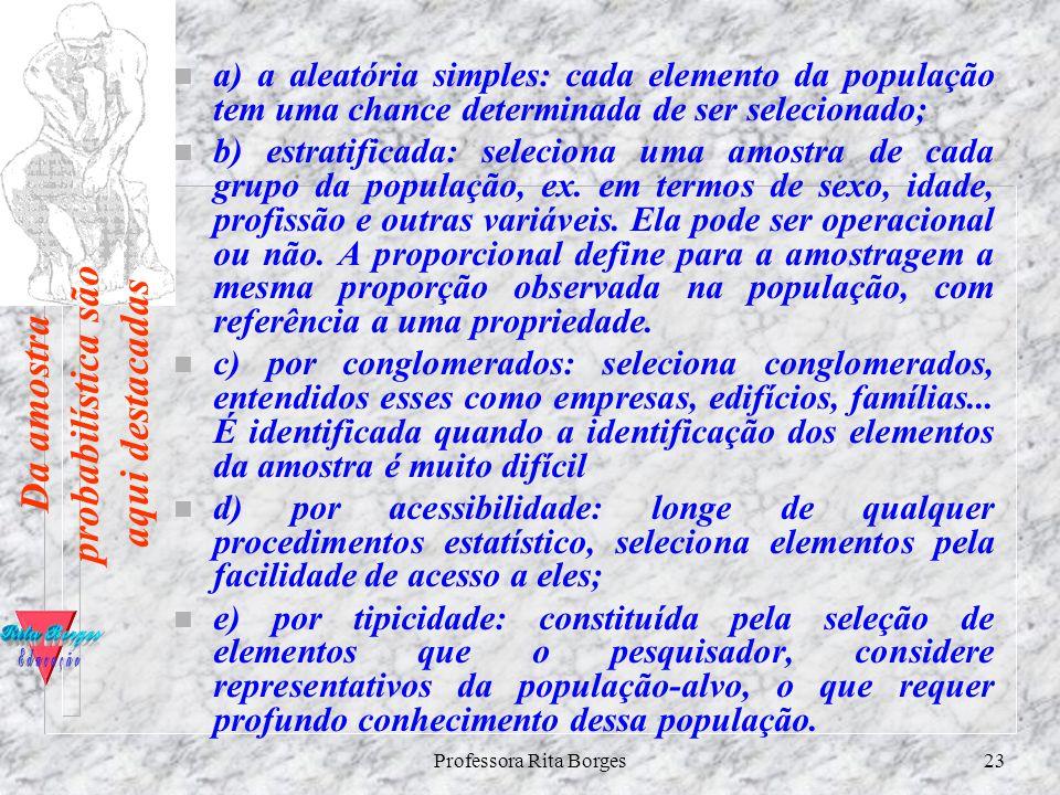 Professora Rita Borges22 COMO ELABORAR O SEU PROJETO DE PESQUISA n População amostral ou amostra é uma parte do universo ( população ) escolhida segun