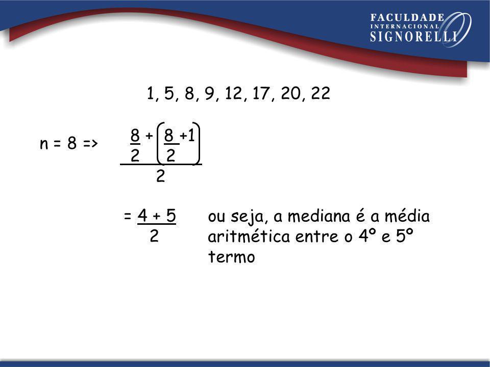 n = 8 => 8 + 8 +1 2 2 2 ou seja, a mediana é a média aritmética entre o 4º e 5º termo 1, 5, 8, 9, 12, 17, 20, 22 = 4 + 5 2