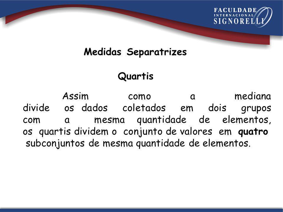 Medidas Separatrizes Quartis Assim como a mediana divide os dados coletados em dois grupos com a mesma quantidade de elementos, os quartis dividem o c