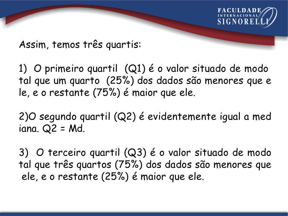 Assim, temos três quartis: 1) O primeiro quartil (Q1) é o valor situado de modo tal que um quarto (25%) dos dados são menores que e le, e o restante (