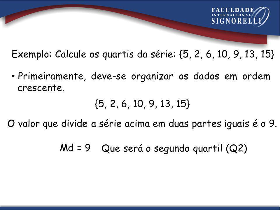 Exemplo: Calcule os quartis da série: {5, 2, 6, 10, 9, 13, 15} Primeiramente, deve-se organizar os dados em ordem crescente. {5, 2, 6, 10, 9, 13, 15}